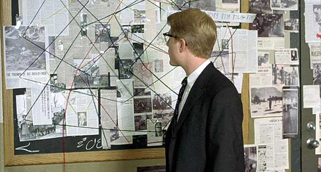 Conspiracy wall from A Beautiful Mind.