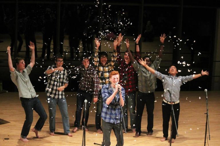 Sixteen Feet throwing confetti as Wilden McIntosh-Round '17 solos. Other solos by Zac Arestad '17 and Ben Charo '18. Arranged by Zac Arestad '17.