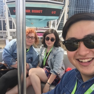 Myself with fellow Swatties Casey Schreiner '16 (left) and Allison Hrabar '16 (right) on the Mr. Robot ferris wheel!