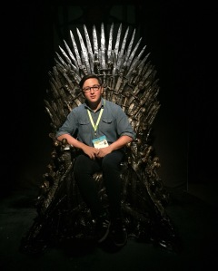 Me on the Game of Thrones chair. Ironically, I do not watch this show.