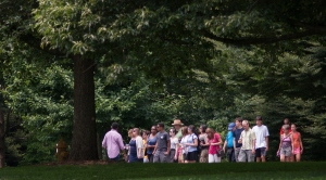 A tour for prospective students on the campus of Swarthmore College (Laurence Kesterson / staff photographer)