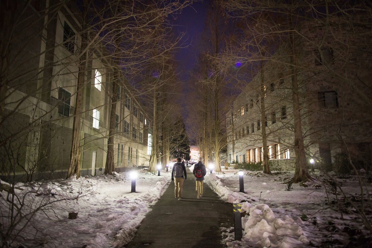 Students walk through the snow on the campus of Swarthmore College (Laurence Kesterson / staff photographer)